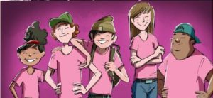 Des élèves portant le chandail rose